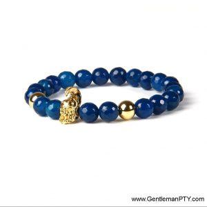 Brazalete de Spartano en calcantita azul y acero inoxidable bañado en oro