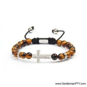 Brazalete de cruz con incrustaciones de zirconica en beads de ojo de tigre
